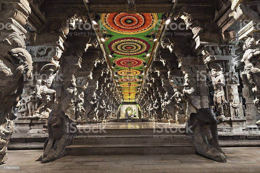 Inside of Meenakshi Temple stock photo