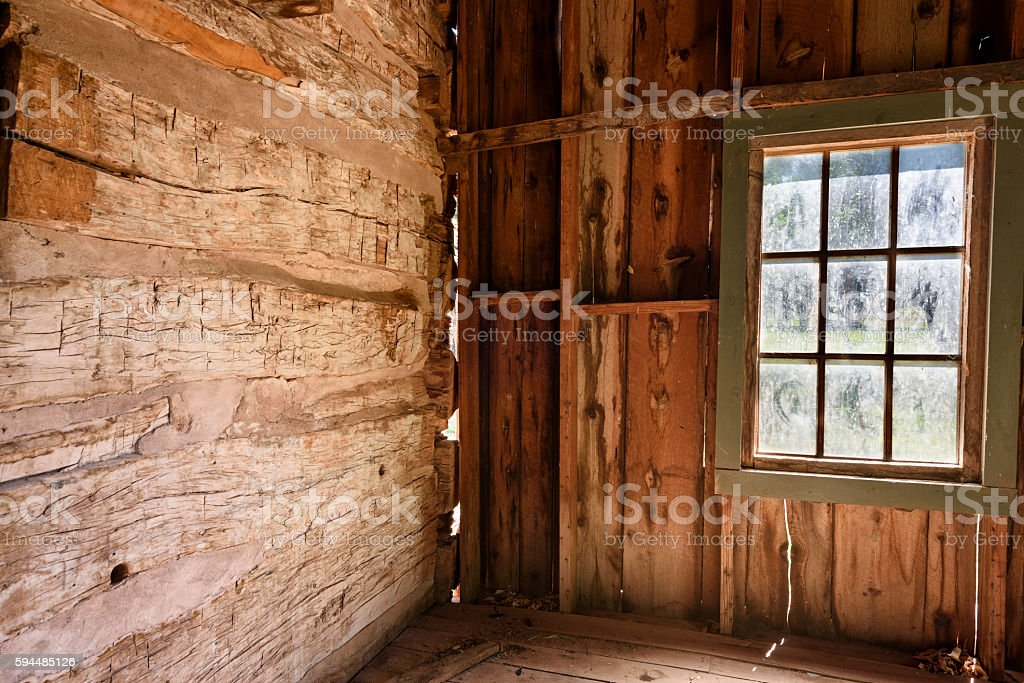 Inside of Old Abandoned House with Window. – Foto
