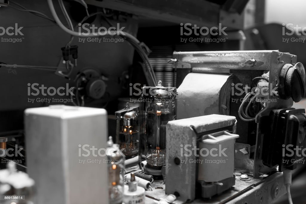 inside of old radio stock photo