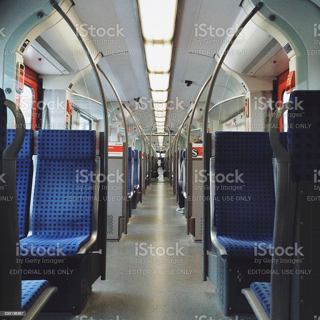Inside of passenger train in Berlin stock photo