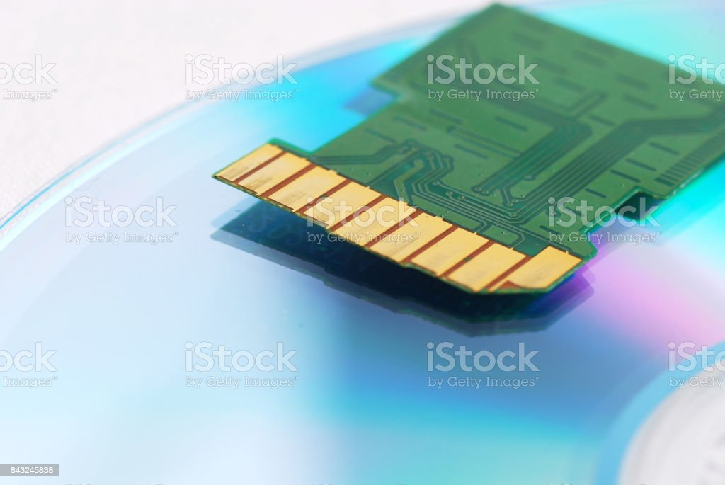 Inside of SD card on CD stock photo