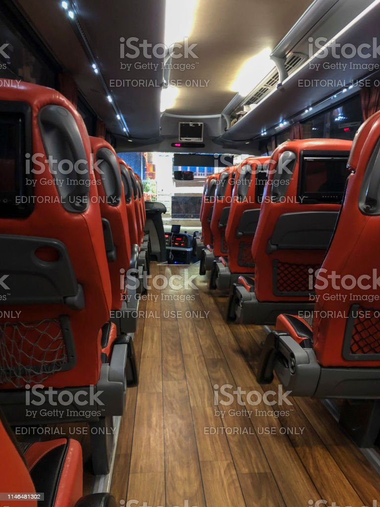 Istanbul, Turkey - April 24, 2019; Inside of the bus which is for...