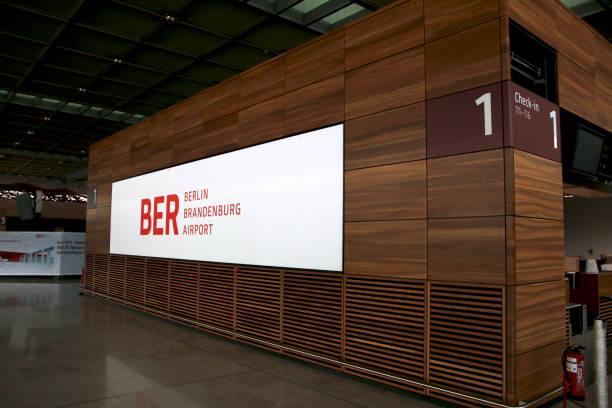 Inside of the Berlin Brandenburg Airport BER, still under construction, empty terminal building, architecture tour stock photo