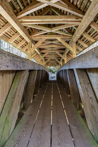 Inside of the Canadian Bridge over the Wutach River. stock photo
