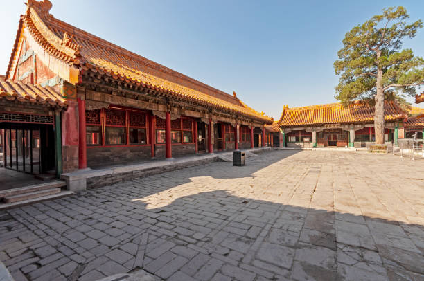 Inside of the Forbidden city in Beijing stock photo