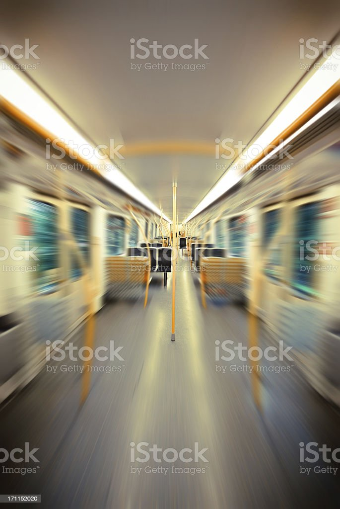 inside of the metro, blurred motion effect stock photo