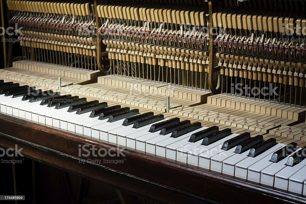 Inside of the piano stock photo