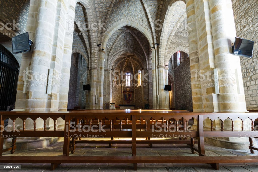 Inside of the Santo Toribio de Liebana monastery, Potes, Cantabria, Spain royalty-free stock photo