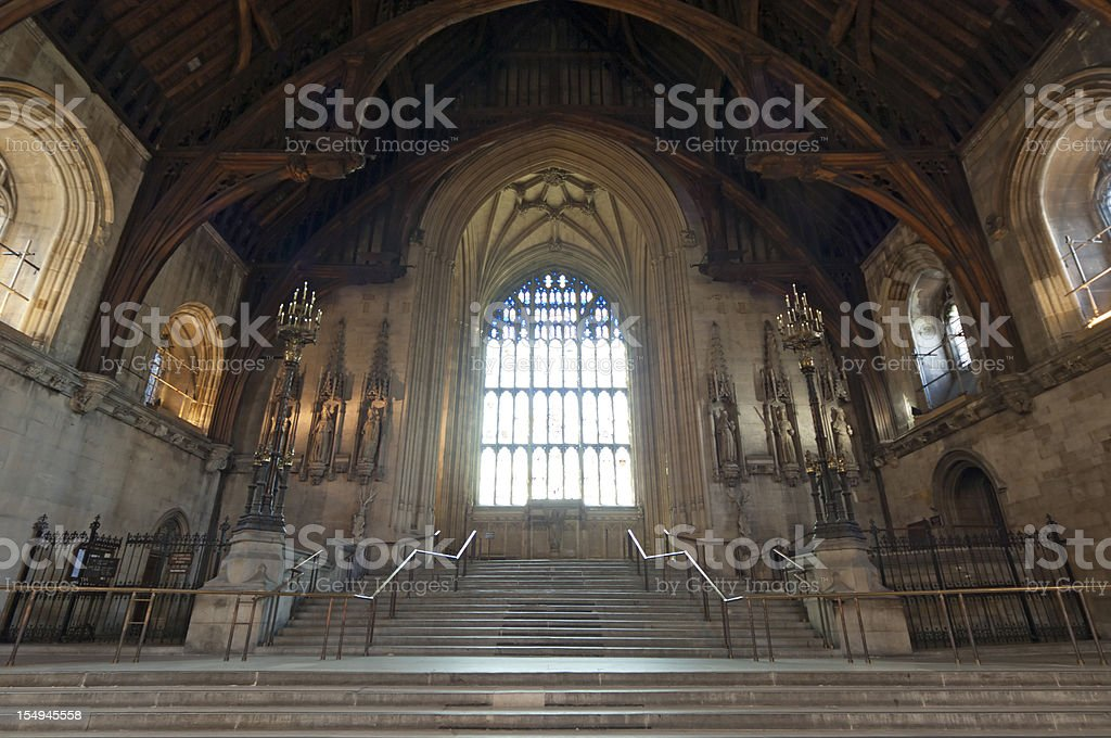 Inside of Westminster Hall London stock photo