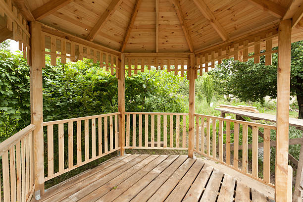 Inside of wooden gazebo under construction Inside of wooden gazebo under construction pavilion stock pictures, royalty-free photos & images