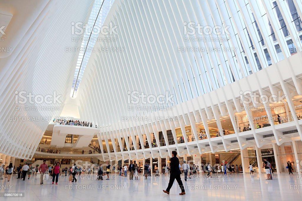 Inside of World Trade Center Transportation Hub stock photo
