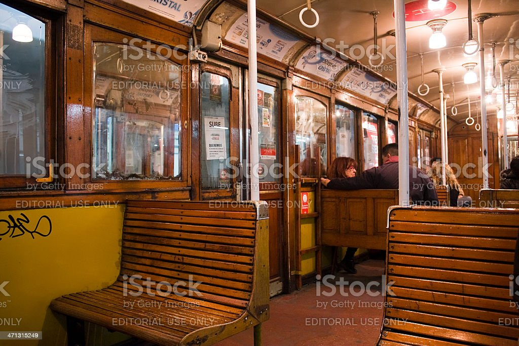 Inside old subway car royalty-free stock photo