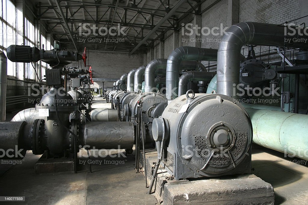 Inside old thermal power station stock photo