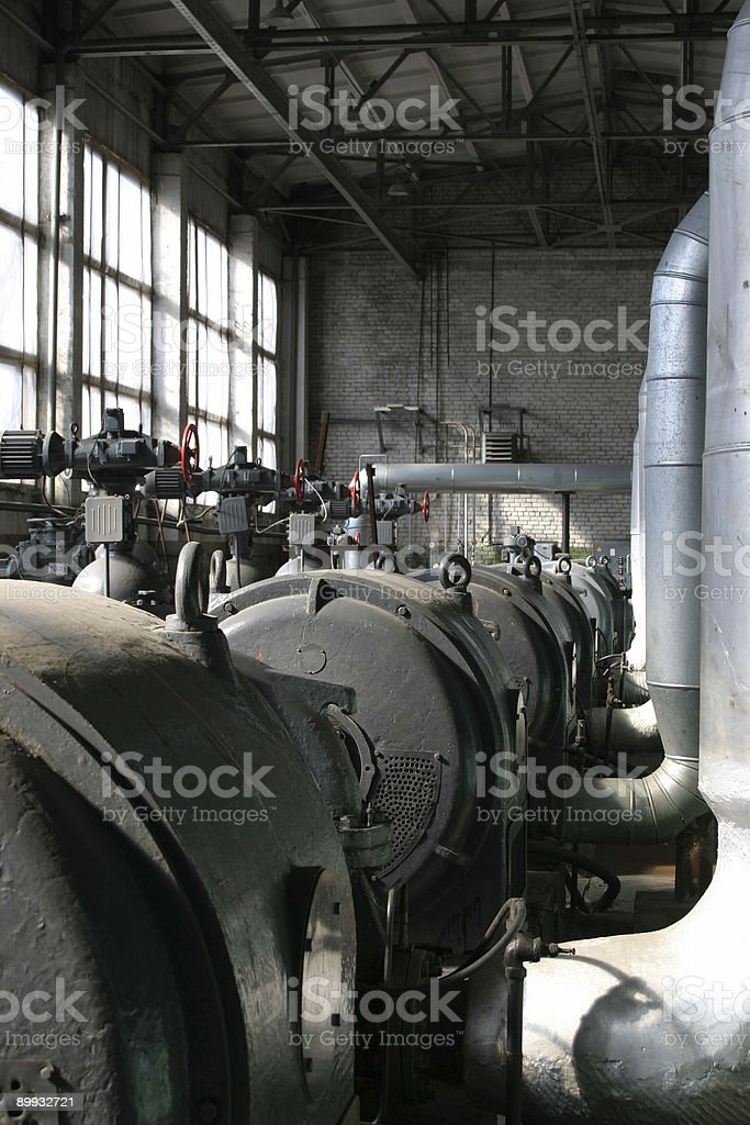 Inside old thermal power station royalty-free stock photo