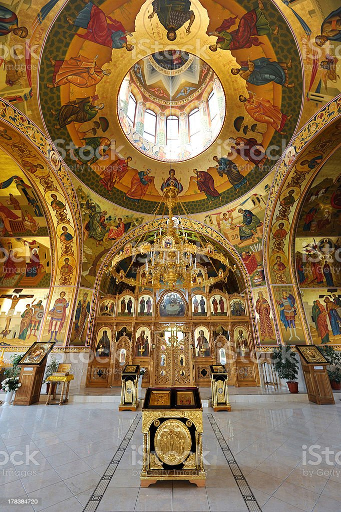 Inside orthodox monastery royalty-free stock photo