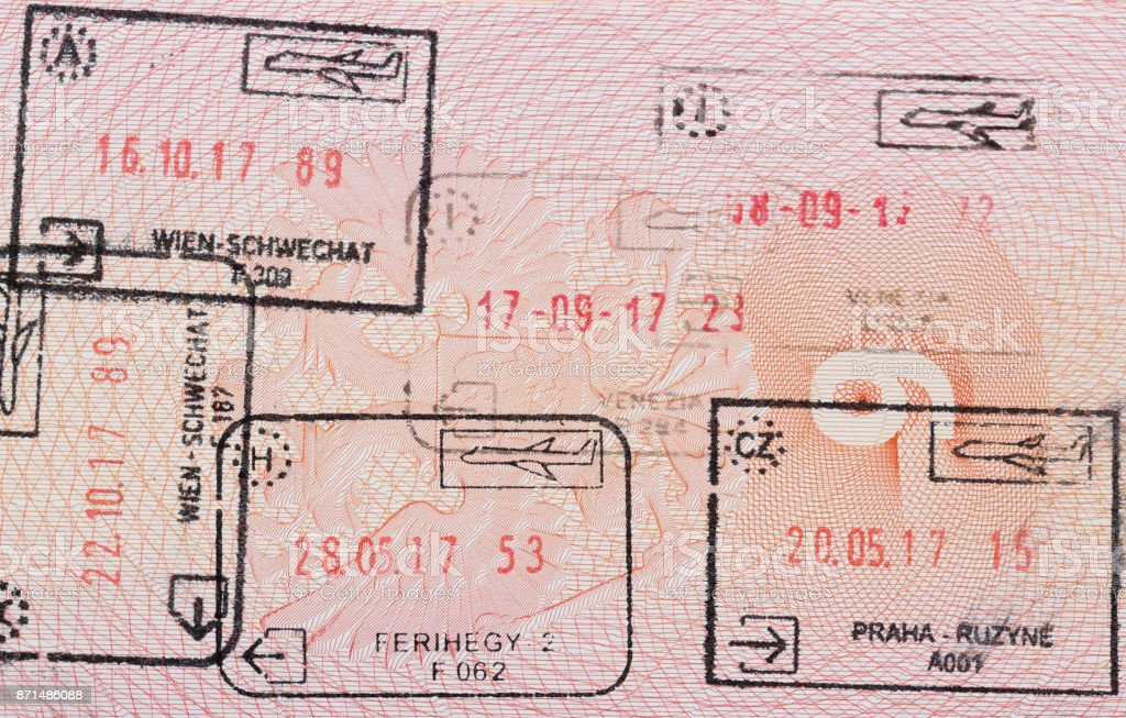 Inside page of a well traveled russian passport with stamps from different european customs: Hungary, italy, Austria, Czech Republic. stock photo