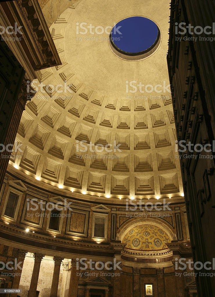 Inside pantheon at night stock photo