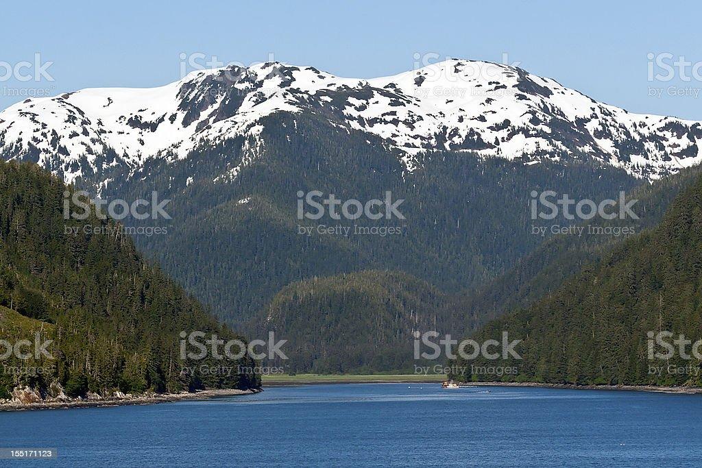 Inside Passage Along the Alaskan Mountain Range stock photo