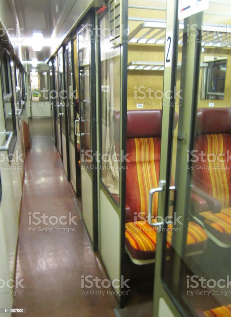 Inside passenger train in Europe stock photo