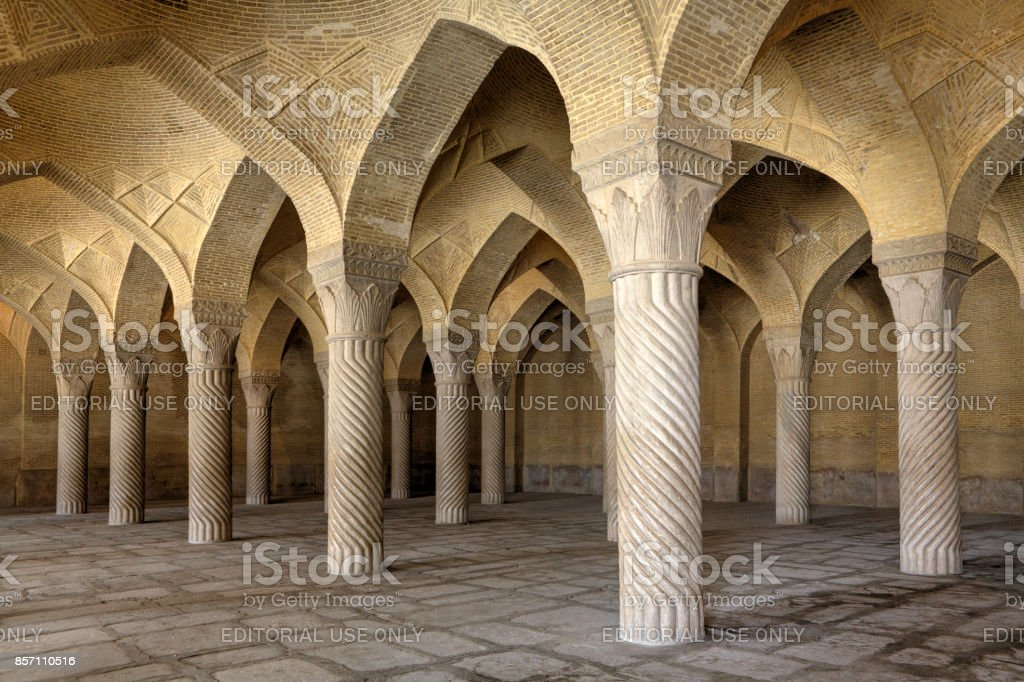 Inside Regents Mosque Prayer Hall without people, Shiraz, Iran. stock photo