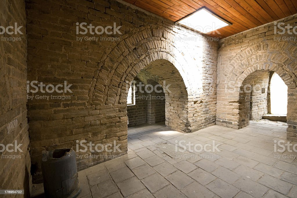 Inside Restored Guardhouse at Mutianyu Section Great Wall, Beijing, China royalty-free stock photo