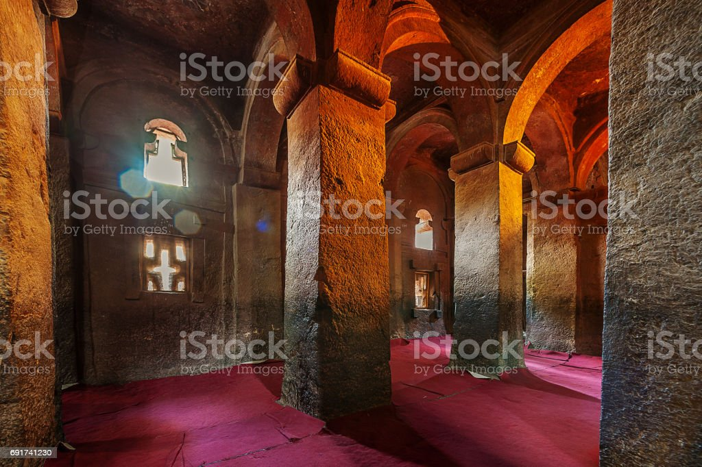 Inside Rock-Hewn Church stock photo