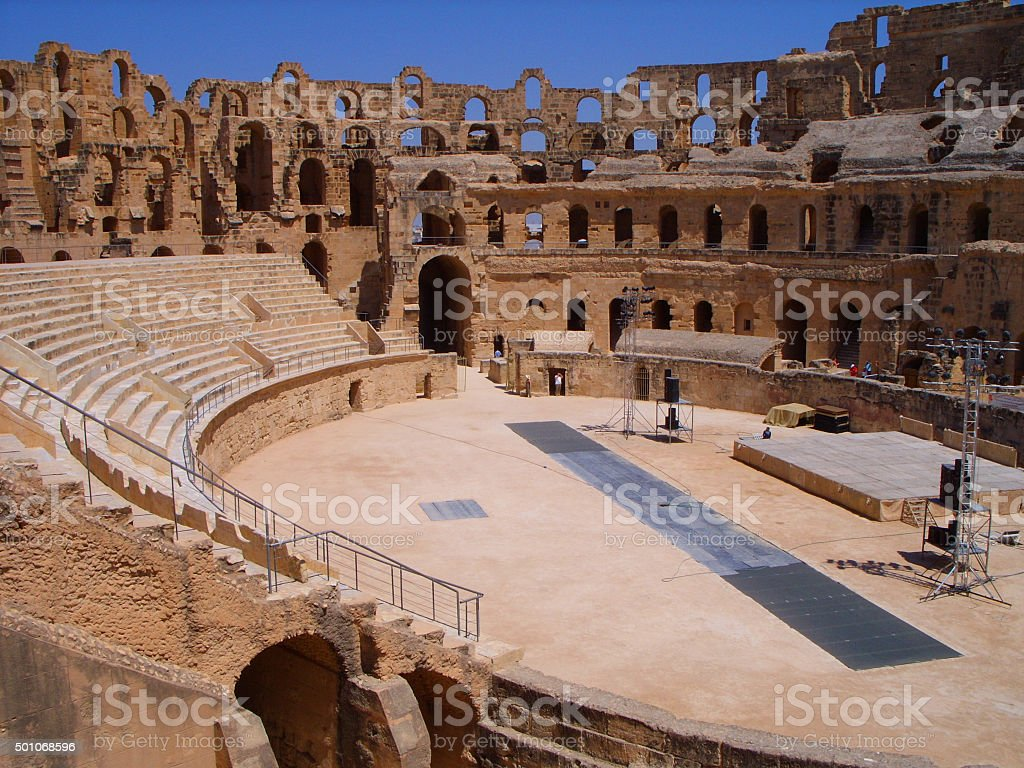 Inside Roman El Jem Amphitheatre Tunisia stock photo