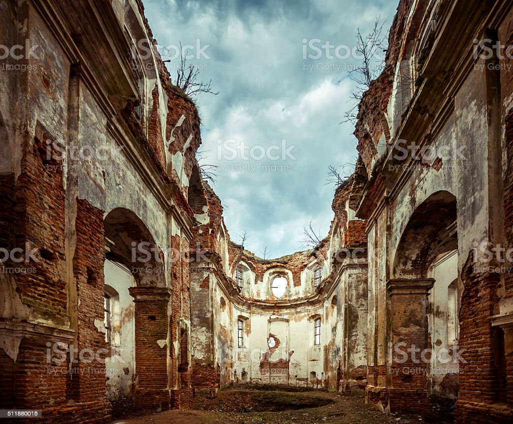 Inside Ruined Church stock photo