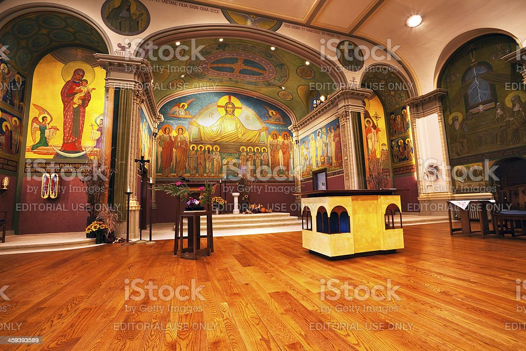 Inside Saint Scholastica Monastery Chapel, West Ridge, Chicago royalty-free stock photo