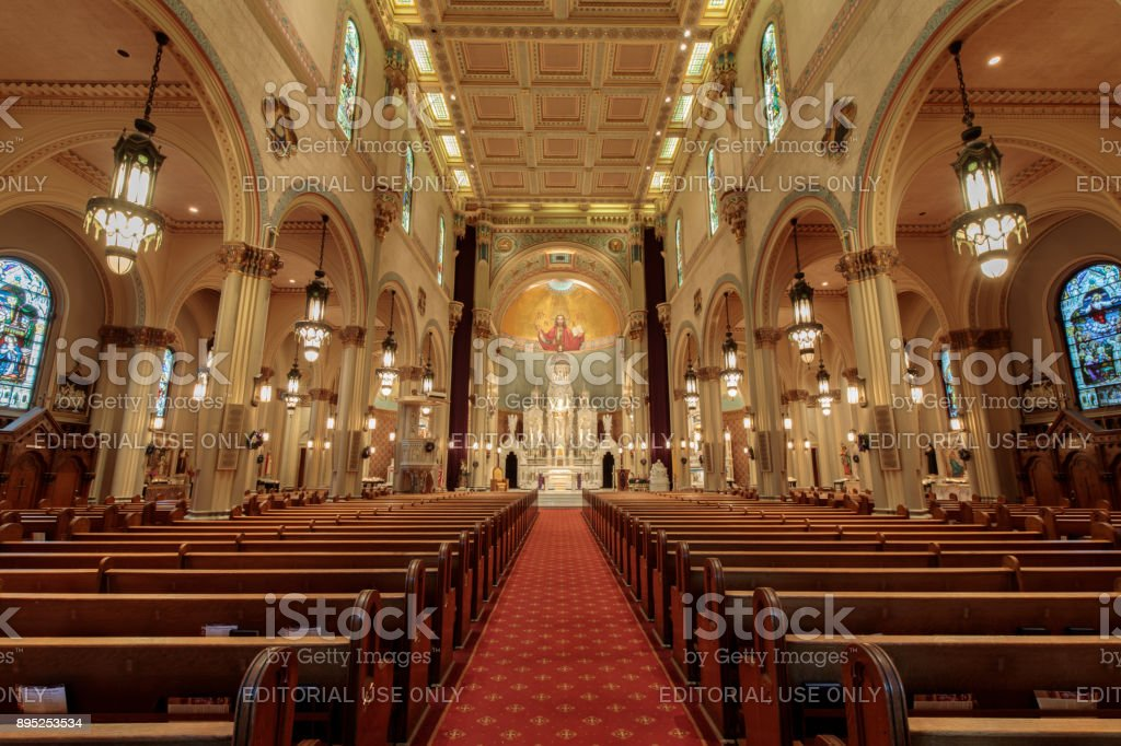 Inside Saints Peter and Paul Church in San Francisco. stock photo