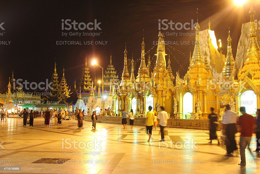 inside shwedagon pagoda, yangon at night royalty-free stock photo