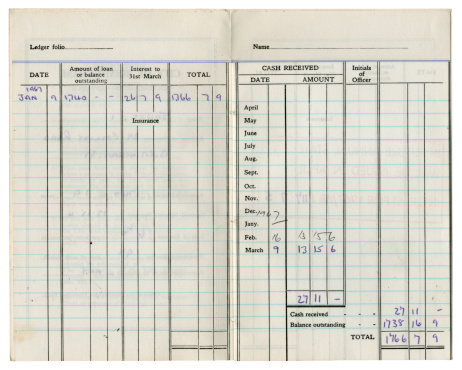 An inside spread from an old British account book with details on loan repayments. Personal details removed.