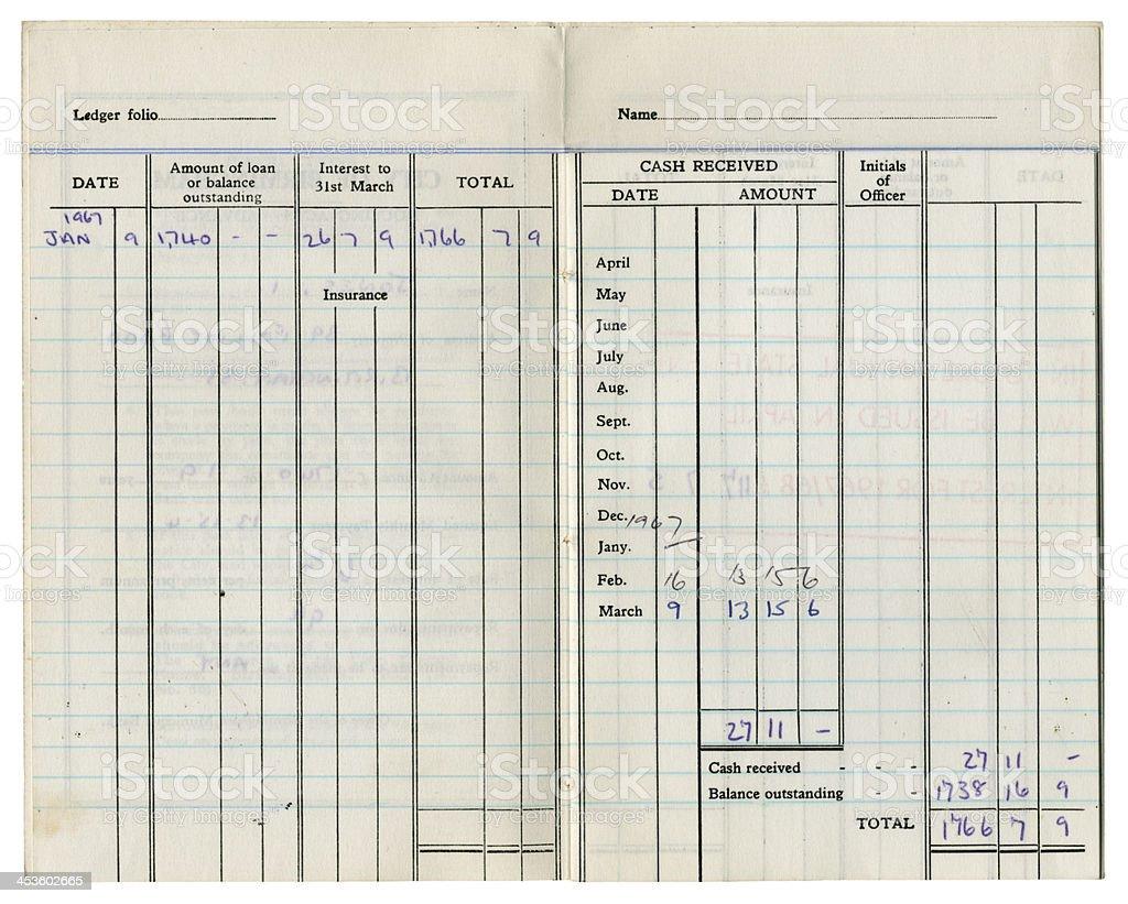 Dentro de la propagación de una antigua British préstamo cuenta de libro, 1967 - foto de stock