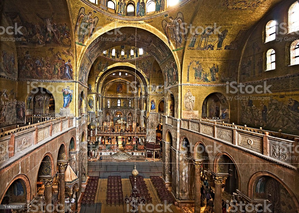 Inside St. Mark's Cathedral, Venice, Italy stock photo