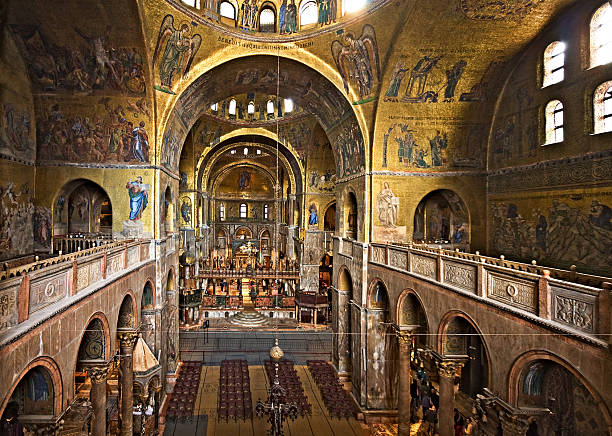 Inside St. Mark's Cathedral, Venice, Italy  basilica stock pictures, royalty-free photos & images