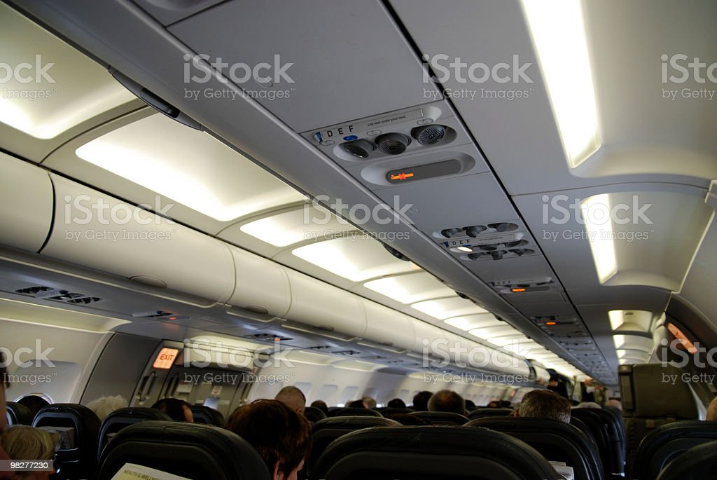 Inside the airplane before start royalty-free stock photo