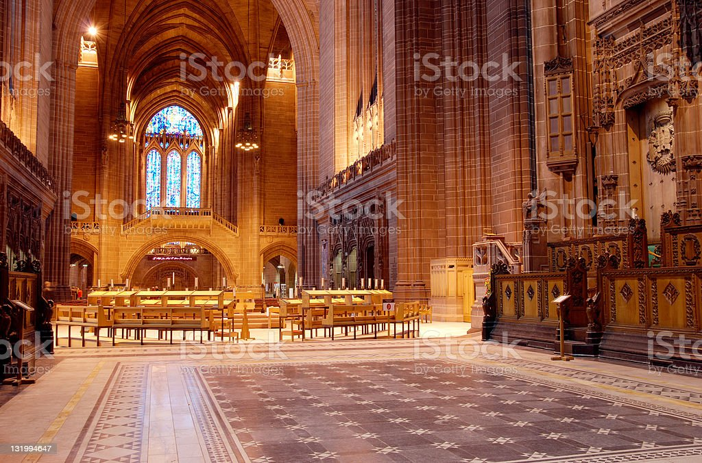 Inside the anglican cathedral in Liverpool royalty-free stock photo