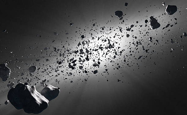 Inside the Asteroid Belt against the sun stock photo