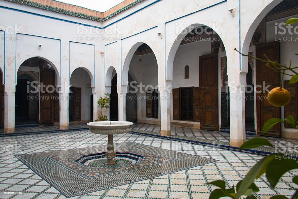 Inside the Bahia palace in Marrakesh, Morocco stock photo