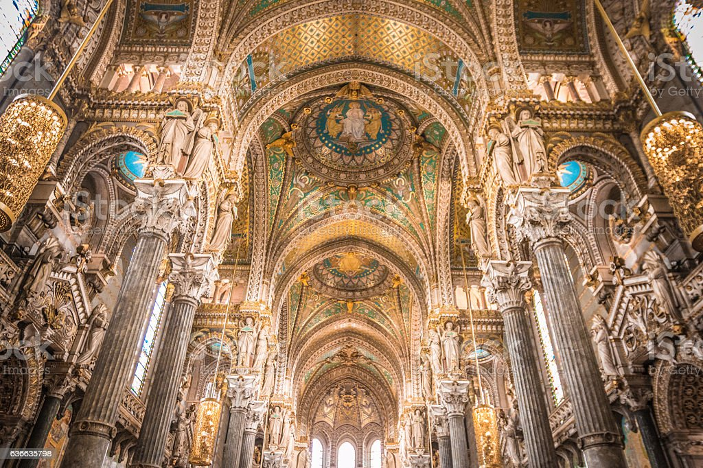 Inside La Basilique Notre Dame de Fourviere in Lyon - Photo