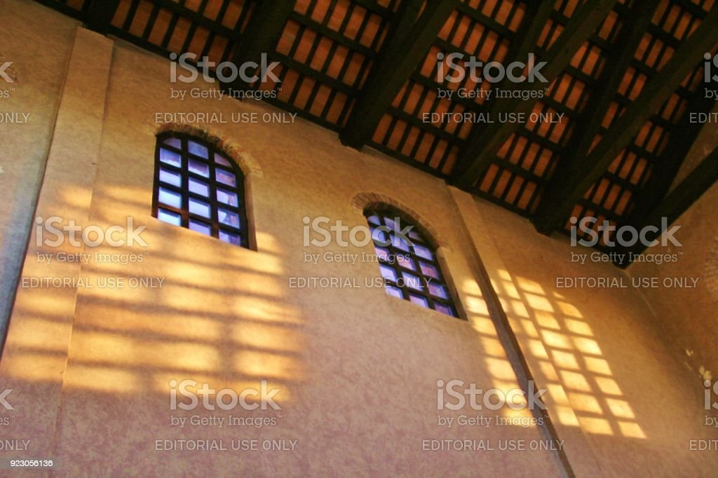 Inside the Basilica Santa Eufemia in  Grado, Italy. stock photo