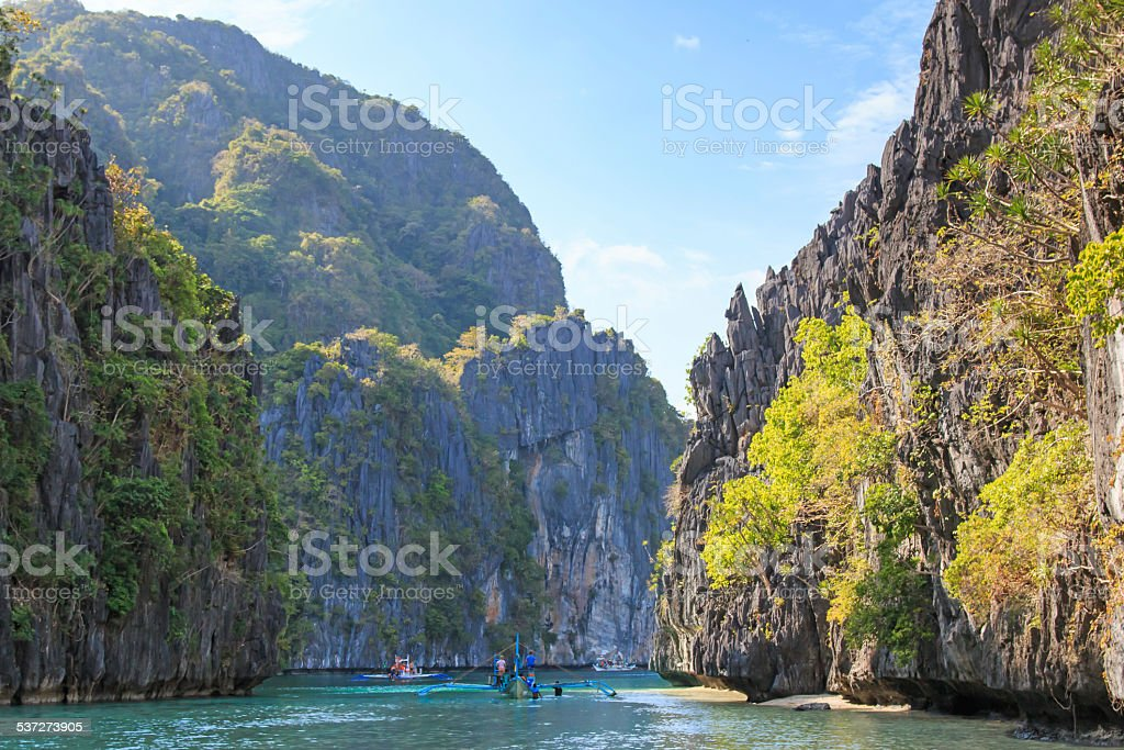 Inside the big lagoon of El Nido, Palawan, Philippines stock photo