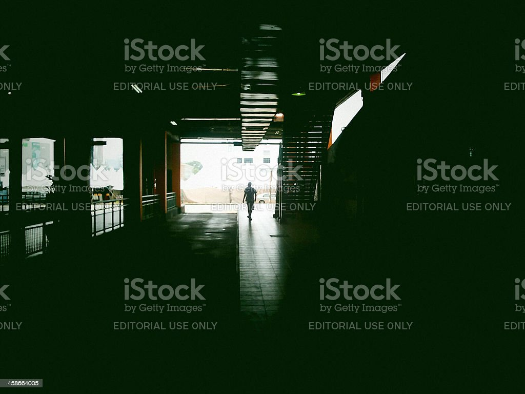 Inside the bus station. stock photo