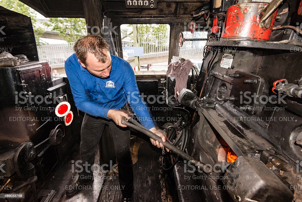inside the cab of a classic steam locomotive stock photo