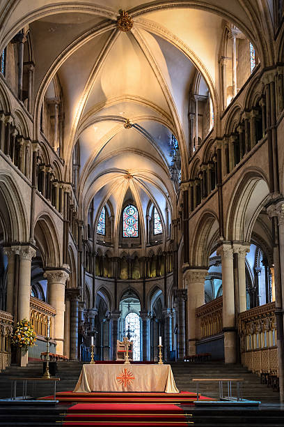 Inside the Canterbury Cathedral in England stock photo