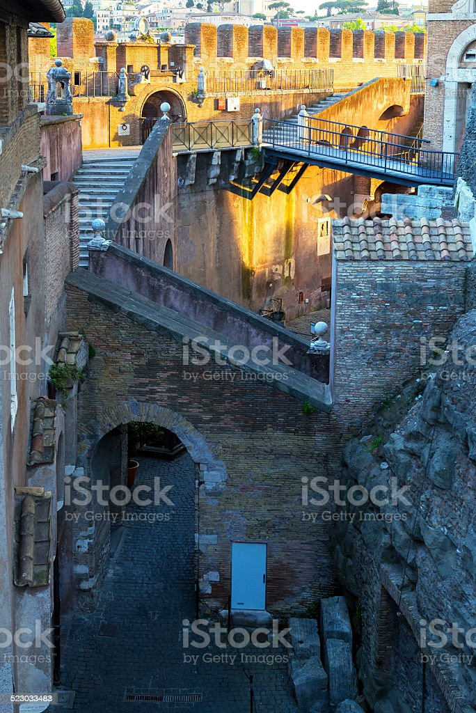 Inside the Castel Sant`Angelo in Rome stock photo