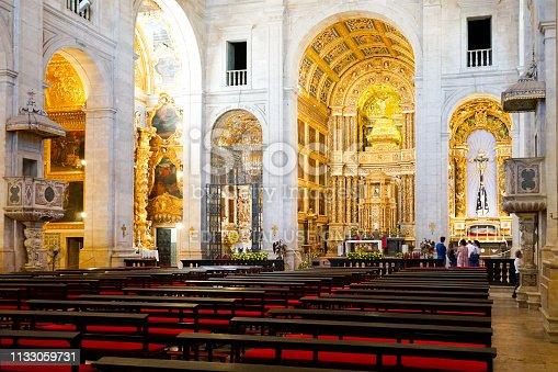 Inside the Cathedral Basilica of Salvador (Catedral Basílica de Salvador) in center of the old city of Salvadore, Bahia, Brazil. 02/11/2019. Portugese colonial gold baroque interior style.