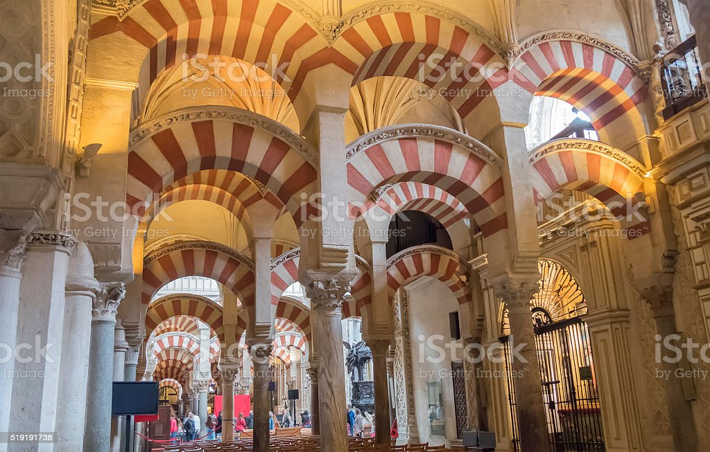 Inside the Cathedral of Cordoba Mosque, Spain stock photo