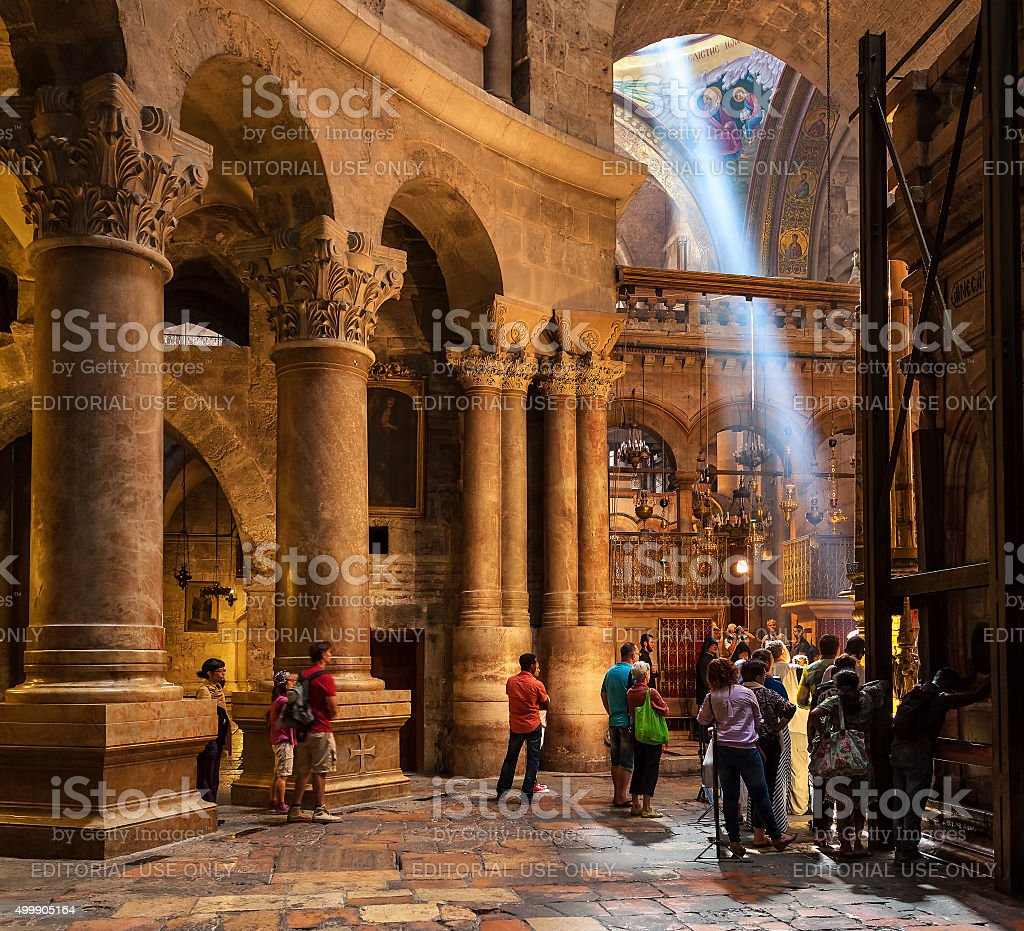 Inside the Church of the Holy Sepulchre. stock photo