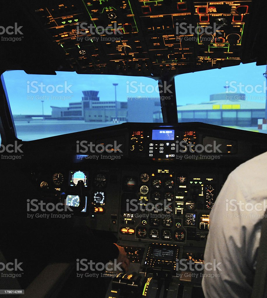 Inside the Cockpit of A Flight Simulator stock photo